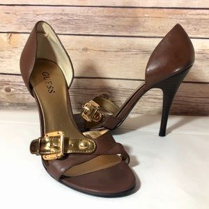 Guess brown D'Orsay open toe heels size 5